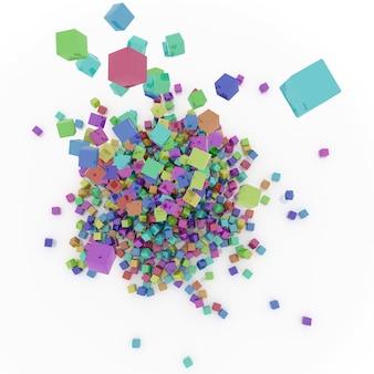 色の付いた四角形のロット