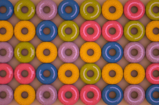 ピンクの孤立した背景にアイシングでカラフルなドーナツがたくさん。 3dグラフィックス、ドーナツの多くのモデルが並んでいます。閉じる。