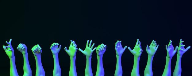 Много рук в неоновом свете на темном фоне, 3d иллюстрация