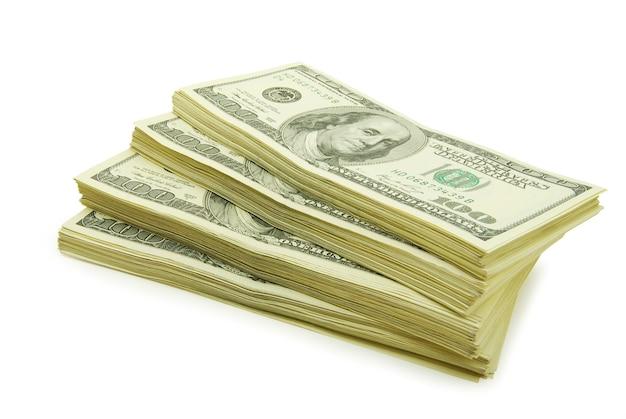 흰색 배경에 고립 된 많은 돈