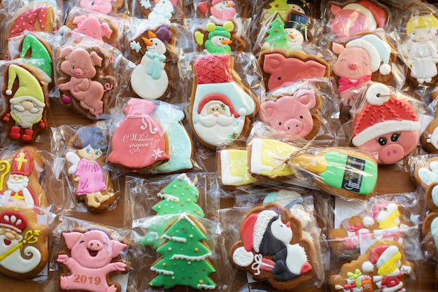 Lot of packed christmas gingerbread cookies.