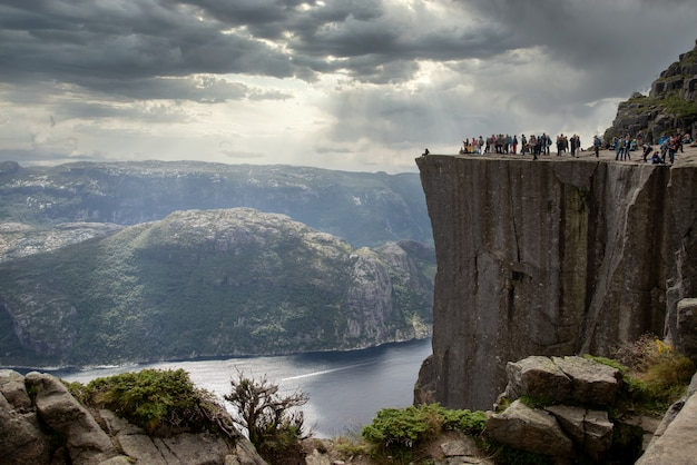 Lot of people stand at the pulpit rock, norway