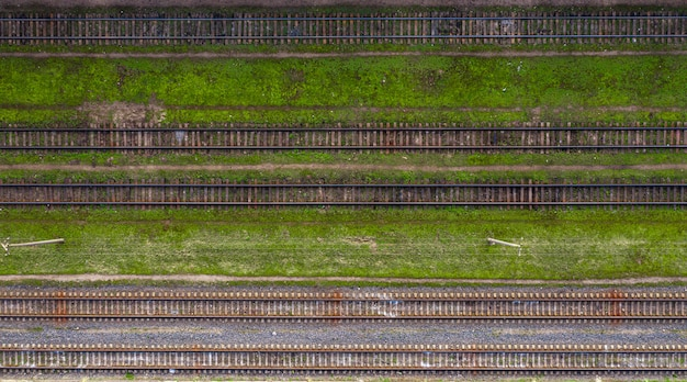 A lot of railway tracks top view from a drone