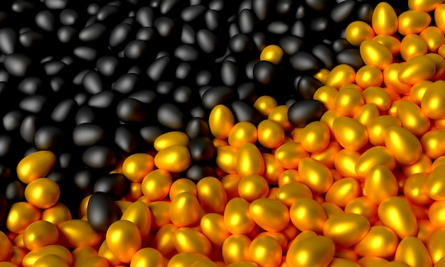 A lot of scattered black and gold eggs. 3d illustration