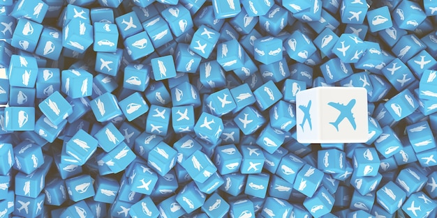 A lot of scattered cubes with logos of different types of transport. 3d illustration