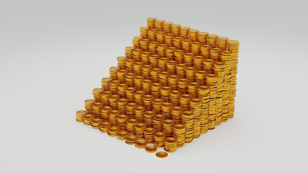 A lot stack of golden bitcoin. 3d rendering