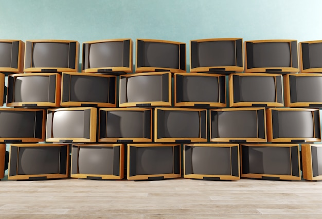 Lot of vintage tv receivers, wall of retro tvs, 3d