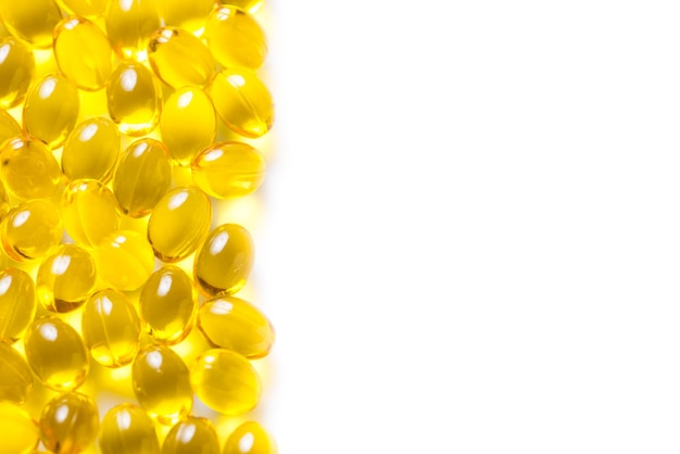 Lot of vitamins d3 capsules piles, copy space