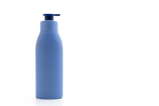 Lotion,cream or bath gel bottle on white