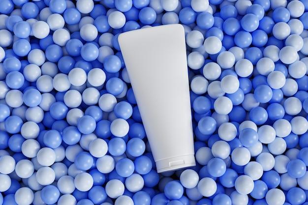 化粧品用ローションチューブ、青いボールまたは球体の上にあり、最小限の3dイラストレンダリング