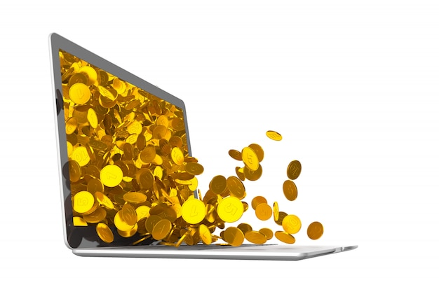 Lots of coins spilling out of laptop. 3d illustration