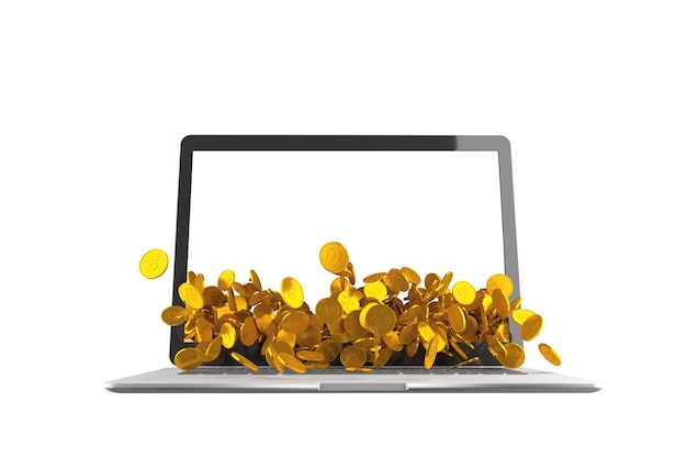 Lots of coins spilling out of laptop on white background. 3d illustration