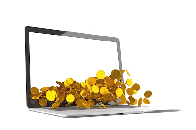Lots of coins spilling out of laptop on white background