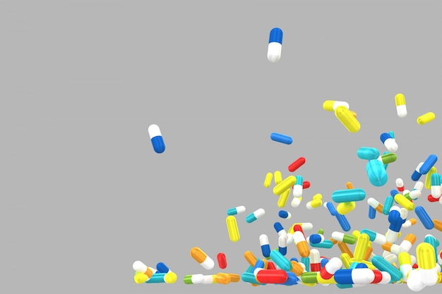 Lots of crumbling and falling colored pills.  isolated. 3d rendering