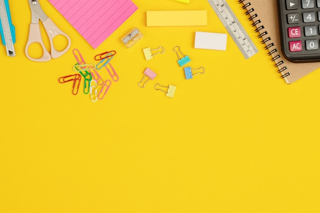 Lots of equipment laid out on a yellow background.