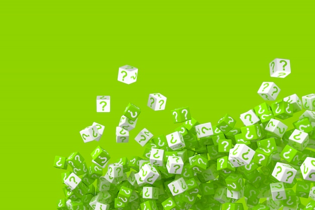 Lots of falling green and white dice with question marks on the sides. 3d illustration