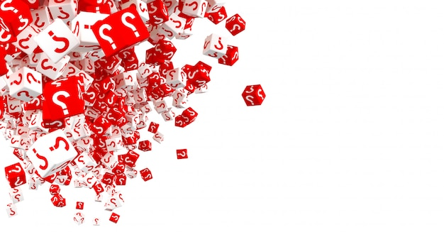 Lots of falling red and white dice