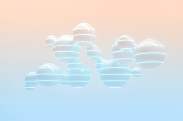 Lots of flying and separating drops on a light background with neon lighting 3d illustration