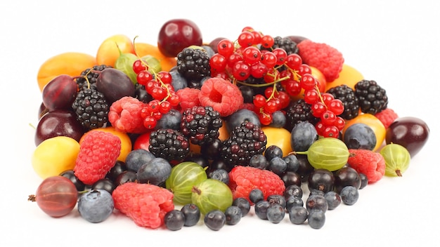 Lots of fresh different berries. healthy and vitamin food