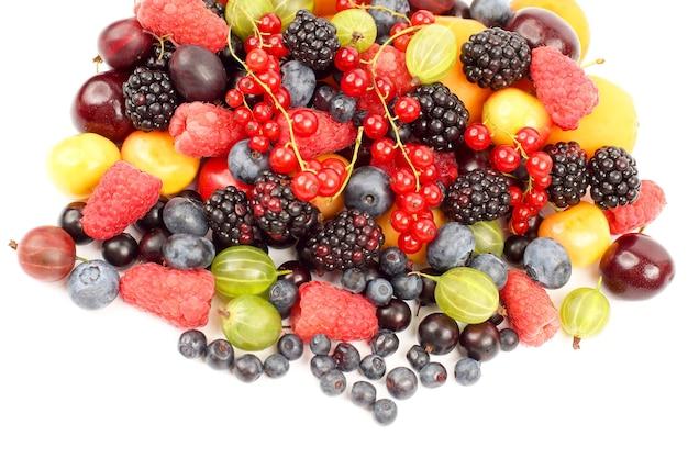 Lots of fresh different berries. useful vitamin healthy food
