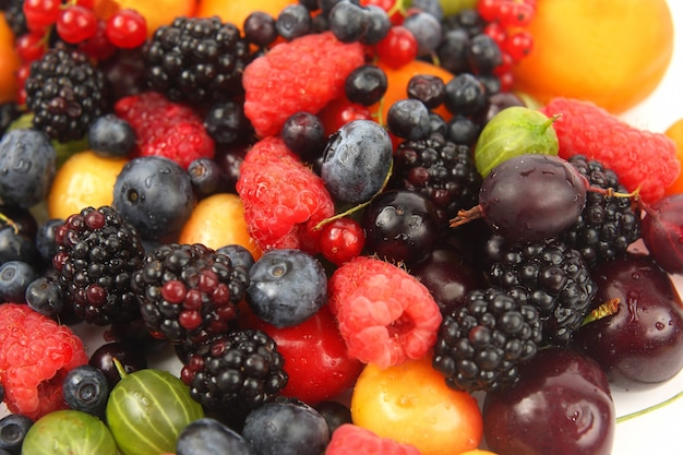Lots of fresh different berries