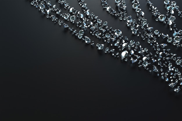 Lots of gems scattered on the side by waves on a black background. 3d illustration