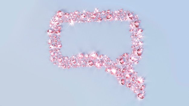 Lots of gems scattered on the surface in the form of a cloud message. 3d illustration