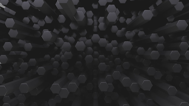 Lots of hexagonal gray crystal rods. abstract low contrast backdrop