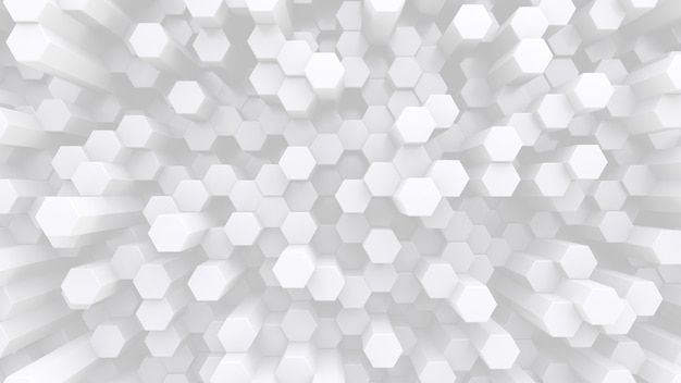 Lots of hexagonal white crystal rods. abstract low contrast backdrop