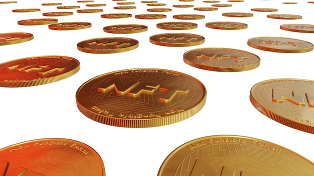 Множество монет nft невзаимозаменяемые токены для искусства и коллекционирования, технология блокчейн для создания уникальных