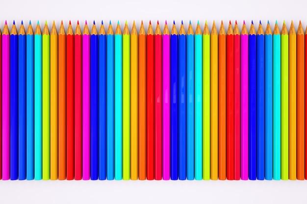 Много цветных карандашей. 3d графика, иллюстрация карандашом. набор цветных карандашей на белом фоне.