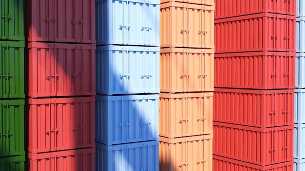 많은 다채로운 컨테이너 다채로운 컨테이너의 배경 이미지 항구의 선적 컨테이너