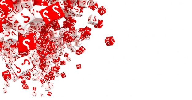 Много падающих красных и белых кубиков