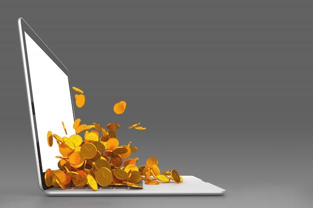 ノートパソコンのモニターからこぼれるたくさんの金貨