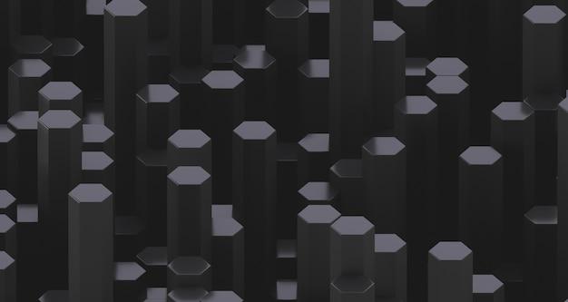 육각형 회색 수정 막대가 많이 있습니다. 추상 낮은 대비 배경