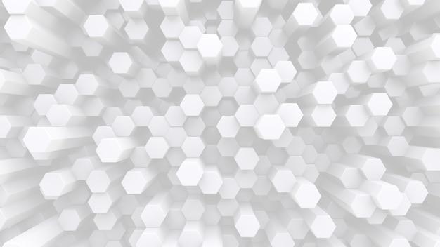 육각형 흰색 수정 막대가 많이 있습니다. 추상 낮은 대비 배경