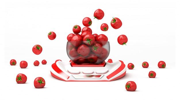 キッチンスケールのトマトがたくさん