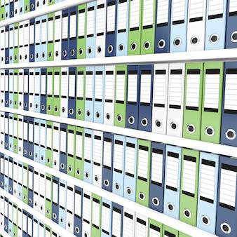 Lots of office folders on shelves