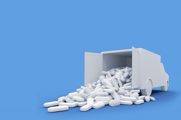 Lots of white pills falling out of a white truck car. 3d illustration