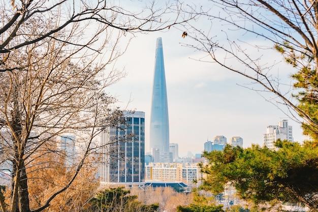 Lotte world tower и городской пейзаж с пасмурным голубым небом зимой