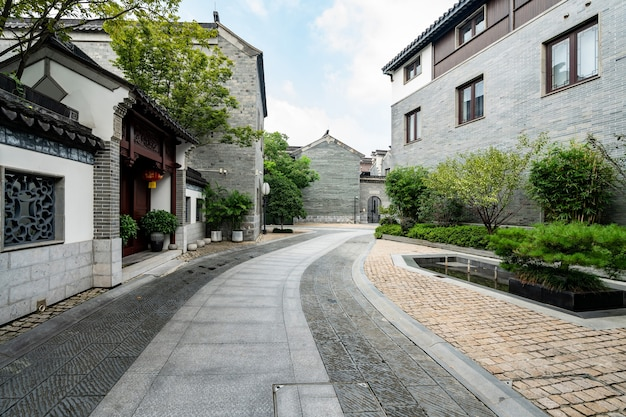 Улица лотос, аллея древнего города в нанкине, провинция цзянсу, китай