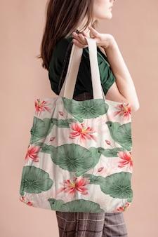 Lotus pattern tote bag, remix from artworks by megata morikaga