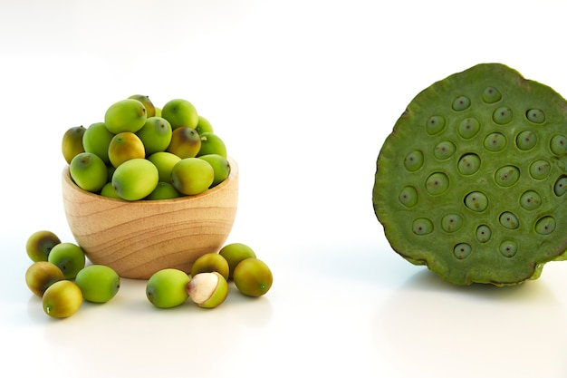 Lotus seeds put in a wooden cup