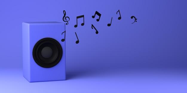 Громкоговоритель, излучающий музыкальные ноты. скопируйте пространство. 3d иллюстрации.