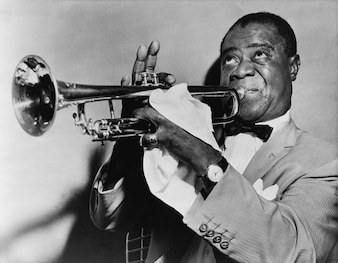 Louis trumpet arm trumpeter musician jazz strong