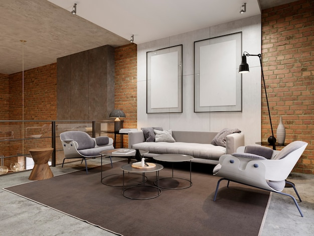 Lounge area in the apartment with a sofa, armchair and side tables. empty picture on decorative concrete wall. 3d rendering.