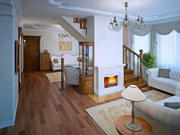 Lounge in art deco style with fireplace and parquet flooting and cream pattern carpet.