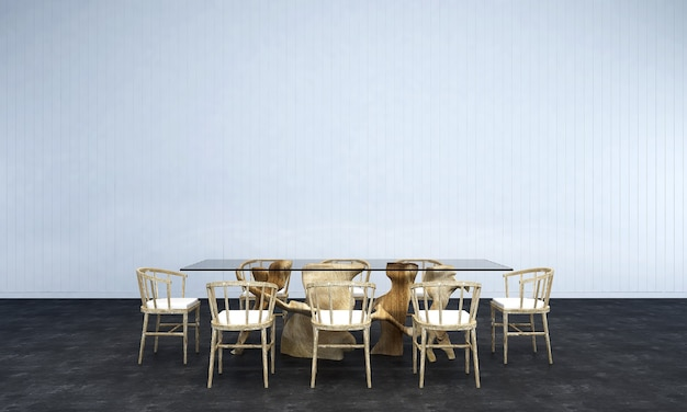 The lounge and dining room interior design and whitewall texture background