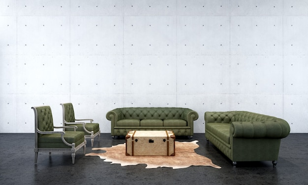 The lounge and living room interior design and concrete wall texture background