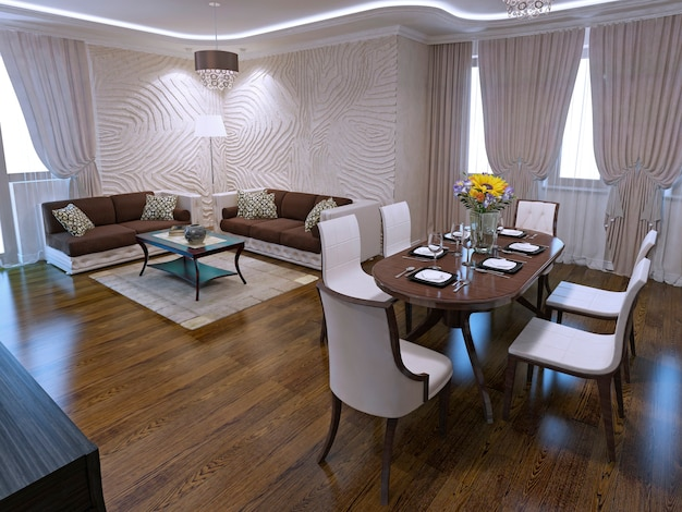 Lounge with dining table in art deco design with included light. 3d render